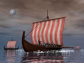 image of viking ship  - Three drakkars or viking ships floating on the ocean night  - JPG