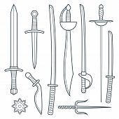 picture of sword  - vector dark gray outline cold medieval weapons set with sword falchion glaive steel dagger dirk whiner saber saber sword katana bokken trident sai shrunken star - JPG