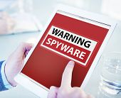 stock photo of spyware  - Hands Holding Digital Tablet Spyware - JPG