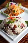 image of green papaya salad  - Traditional dish of freshly prepared Thai food with som tum green papaya salad - JPG