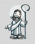 picture of shepherd  - Hand drawn vector illustration or drawing of Jesus Good Shepherd in a cartoon style - JPG