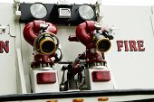 stock photo of mustering  - Detail of a fire department vehicle on display during a fire muster parade - JPG
