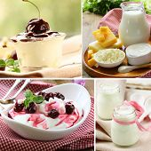 stock photo of milk products  - collage of assorted dairy products  - JPG