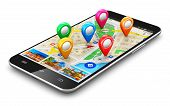 image of internet icon  - Modern black glossy touchscreen smartphone or mobile phone with wireless navigator map service internet application on screen and group of colorful destination pointer marker icons isolated on white background - JPG