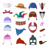 stock photo of jestering  - Funny Cartoon Hat set and object  - JPG