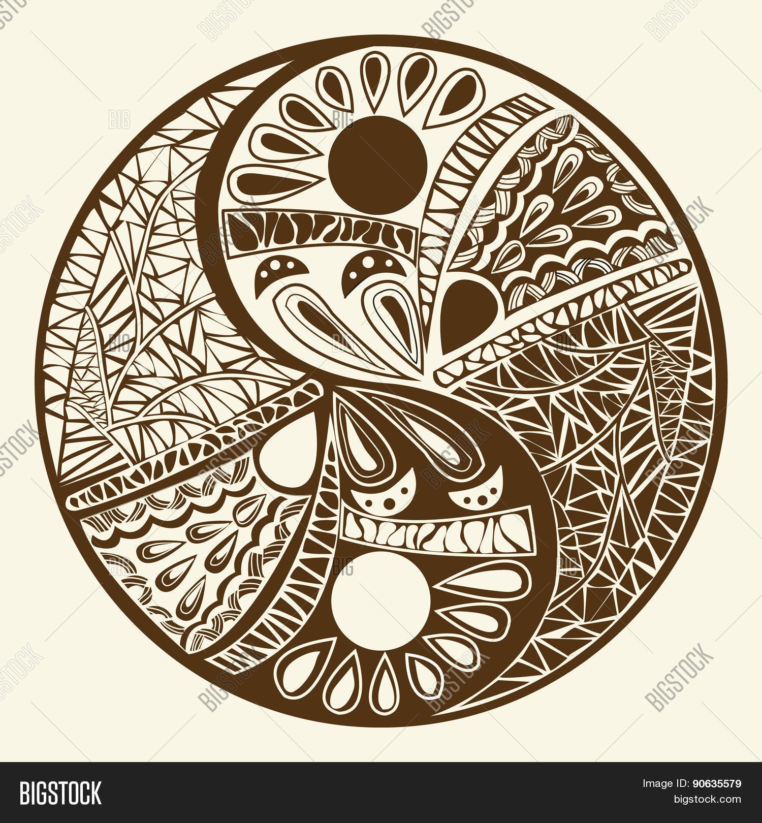 Yin yang symbol asian decoration vector photo bigstock for Decoration murale yin yang