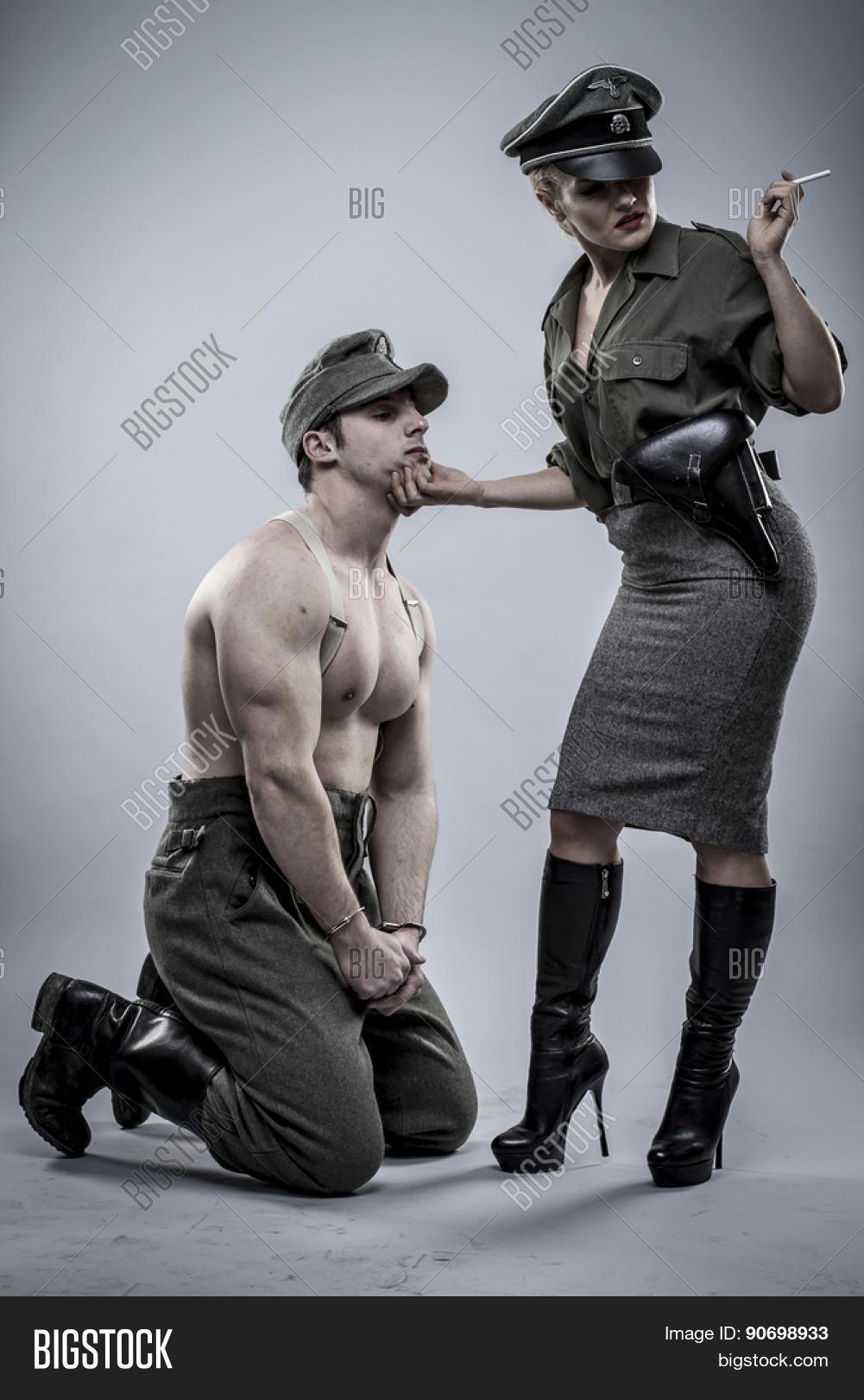 Prisoner, German officer in World War II, reenactment ...