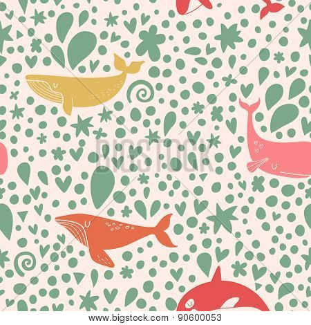 Awesome seamless pattern with stylish whales in bright colors. Sweet underwater concept background in vector