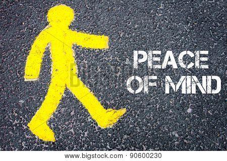 Yellow Pedestrian Figure Walking Towards Peace Of Mind