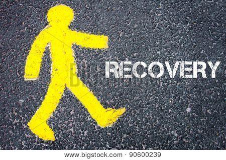 Yellow Pedestrian Figure Walking Towards Recovery