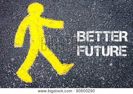 Pedestrian Figure Walking Towards Better Future