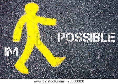 Yellow Pedestrian Figure Walking Towards Possible