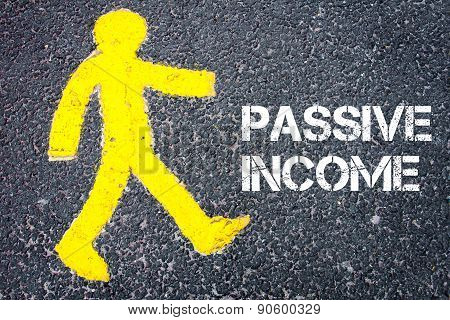 Yellow Pedestrian Figure Walking Towards Passive Income