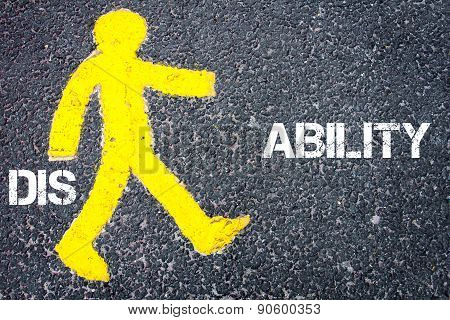Yellow Pedestrian Figure Walking Towards Ability