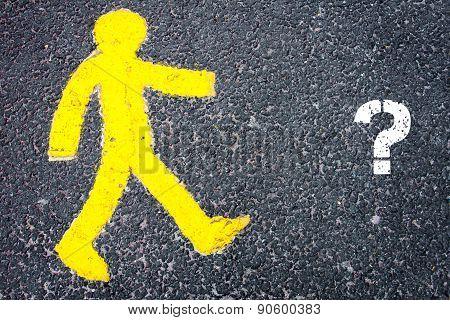Yellow Pedestrian Figure Walking Towards Question Mark