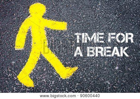 Pedestrian Figure Walking Towards Time For A Break