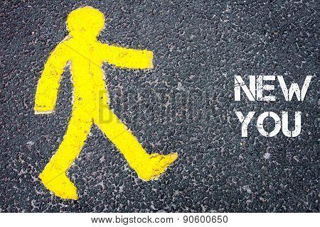 Yellow Pedestrian Figure Walking Towards New You