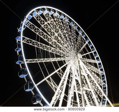 Ferris Wheel At Night  In Gdansk, Poland