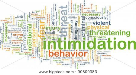 Background concept wordcloud illustration of intimidation