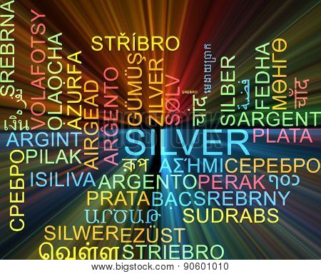 Background concept wordcloud multilanguage international many language illustration of silver glowing light