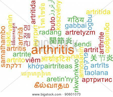 Background concept wordcloud multilanguage international many language illustration of arthritis