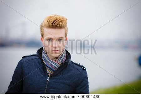 Fashion Model Guy Portrait Outdoors