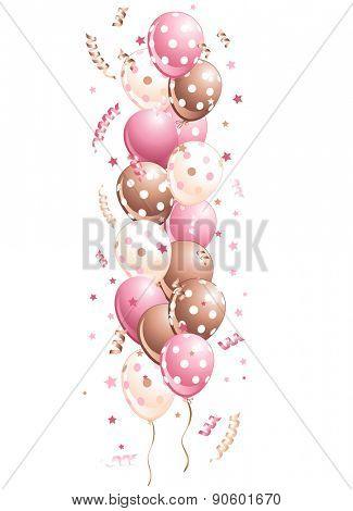 Illustration of pink holiday balloons border