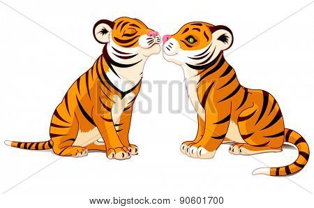 Illustration of two tigers in love