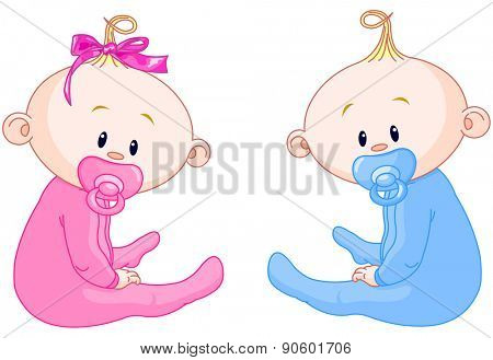 Illustration of girl and boy, two adorable babies