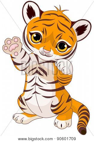 Illustration of cute playful tiger cub waving hello