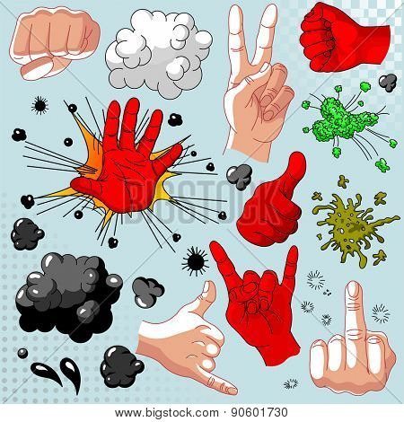 Comic hands collection - icon set