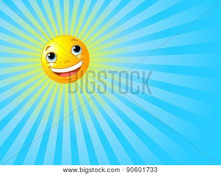 Illustration of happy smiling sun with rays of light beaming background