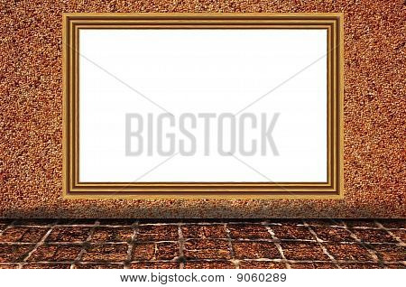 Sand Wall Background As Wooden Photo Frame