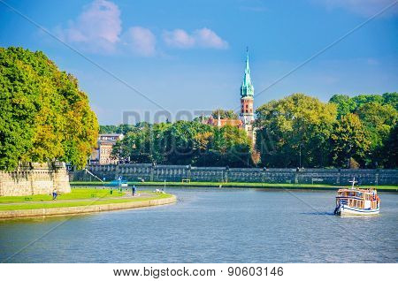 Vistula River And Jewish District, Cracow, Poland