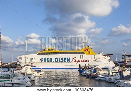 The Ferry Bocayna Express From Fred Olsen In The Harbor Of Playa Blanca