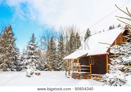 Wooden house during winter