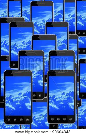 Smart-phones With Image Of Blue Sky