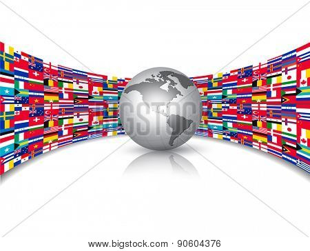 World flags background with a globe. Vector.