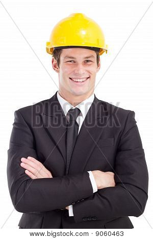 businessman wearing hard hat