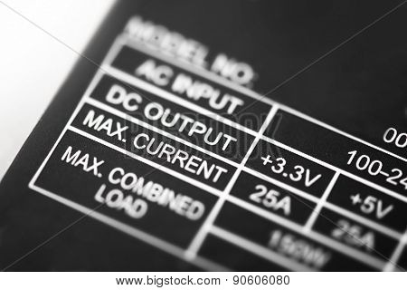 Power rating. Power rating section of a power supply unit. Focus on