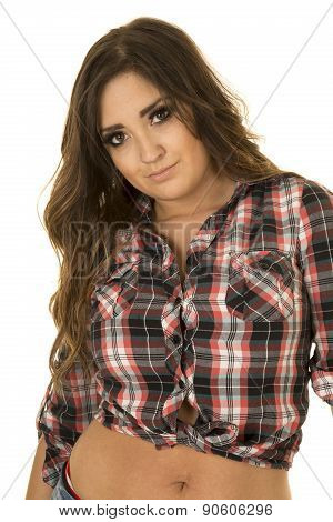 Cowgirl In Plaid Shirt Showing Belly Close