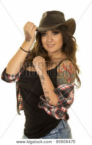 Cowgirl With Colorful Tattoo Stand Looking Smile