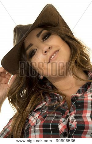 Cowgirl With Tattoo And Hat Low View Close
