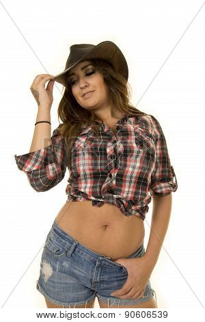 Cowgirl With Tattoo And Hat Low View