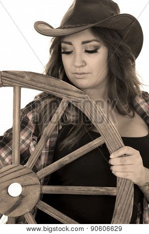 Cowgirl With Tattoos Wagon Wheel Look Down