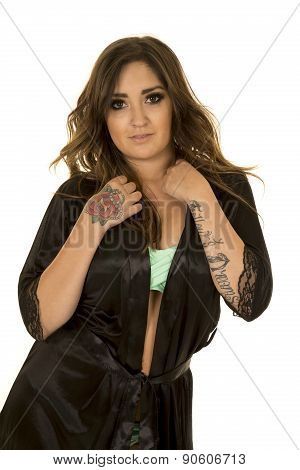 Woman In Black Nightgown With Tattoo Green Under