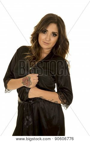 Woman In Black Nightgown With Tattoo Look Serious