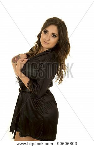 Woman In Black Nightgown With Tattoo Side Looking