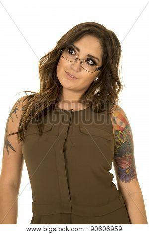 Woman In Brown Dress Tattoo Glasses Look Side