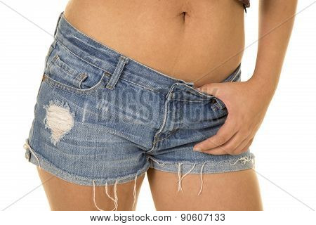 Woman In Denim Shorts Up Close